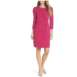 Eliza J Pink 3/4 Faux Wrap Ponte Sheath Dress